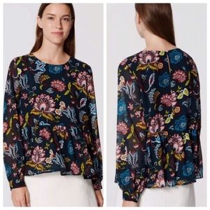 Loft | Floral Long Sleeve Peplum Blouse